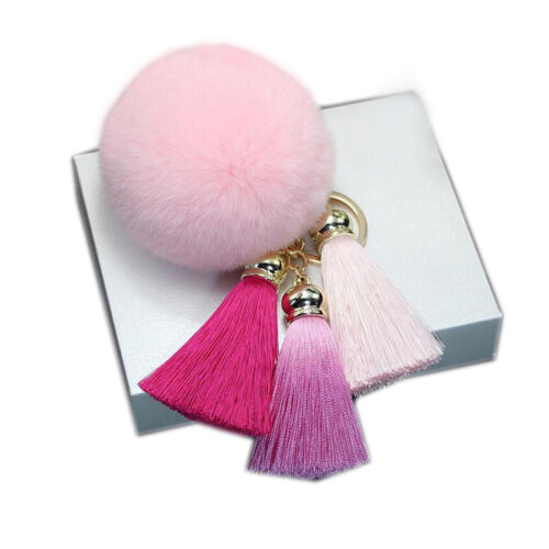 Rabbit Fur Plush Tassel Pendant Ball Shape Car Keychain Backpack Hang Decor