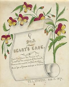 ANTIQUE-1874-AMERICAN-FOLK-ART-FLORAL-PAINTING-OWENSBORO-KY-AREA-PARRISH-STIVERS