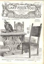 1862 Sedia EBANO OTTONE CHIODI SCOLPITO NOCE TAVOLO SEDIA OPERA D'ARTE Museo di Cluny