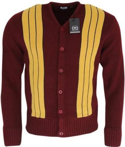 Mens Burgundy Mustard Striped Heavy Waffle Knitted Cardigan Retro Mod