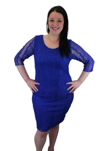New Womens Ladies Plus Size 3/4 Sleeve Bodycon Floral Lace Dress Sizes 14-28