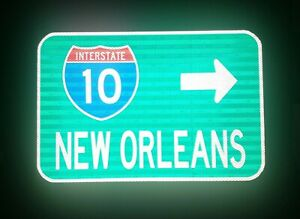 NEW-ORLEANS-Interstate-10-route-road-sign-Louisiana-DOTD-Mardi-Gras-Saints
