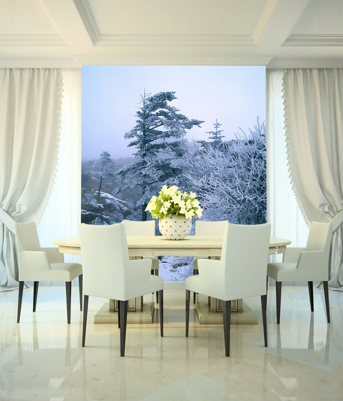 3D Snow Pine Trees 45 Wall Paper Wall Print Decal Wall Deco Indoor Mural Summer