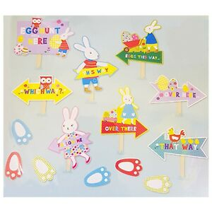 Easter-Bunny-Egg-Hunt-Kit-14-piece-including-Pointer-Signs-and-Foot-Prints