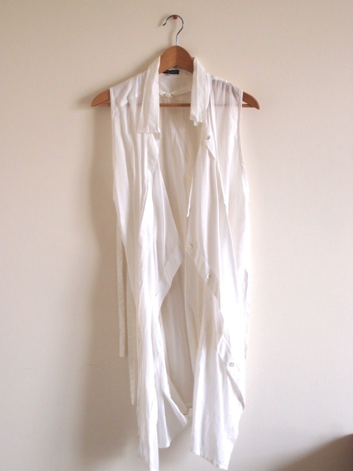 Ann Demeulemeester Sleeveless Long Long Long Shirt Dress in White 59f91e