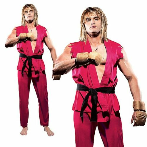 KEN Street Fighter Video Games Stag Party Cosplay Mens Adult Fancy Dress Costume