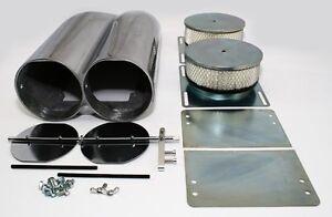 Smooth-Polished-Aluminum-Double-Barrel-Shotgun-Intake-Air-Hood-Scoop-Kit-Hotrod