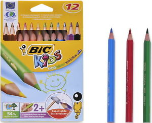 Details about BIC ECOLUTIONS EVOLUTION 12 PAINTING TRIANGLE JUMBO COLORED  PENCILS RECYCLED