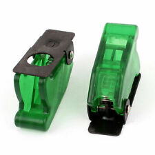 2pcs Waterproof Green Plastic Flip Safety Cover Cap Guard For 12mm Toggle Switch