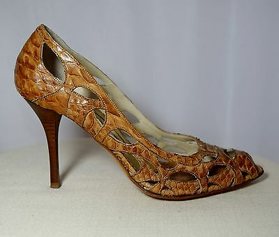 51e9b875fbc1e Gianmarco Lorenzi Snakeskin Stiletto Heel Peep Toe Pumps Size 37 ...