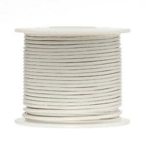 "16 AWG Gauge Stranded Hook Up Wire White 100 ft 0.0508"" UL1015 600 Volts"