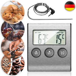 Backofenthermometer Fleischthermometer Kerntemperaturmesser Fühler Digital,Alarm
