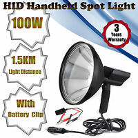 100w 9 Hid Hunting Spotlight Handheld Lamp Fishing+ Battery Conversion Clip 12v