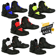 Motorbike Racing Shoes Waterproof Leather Motorcycle Short Ankle Boot Armoured