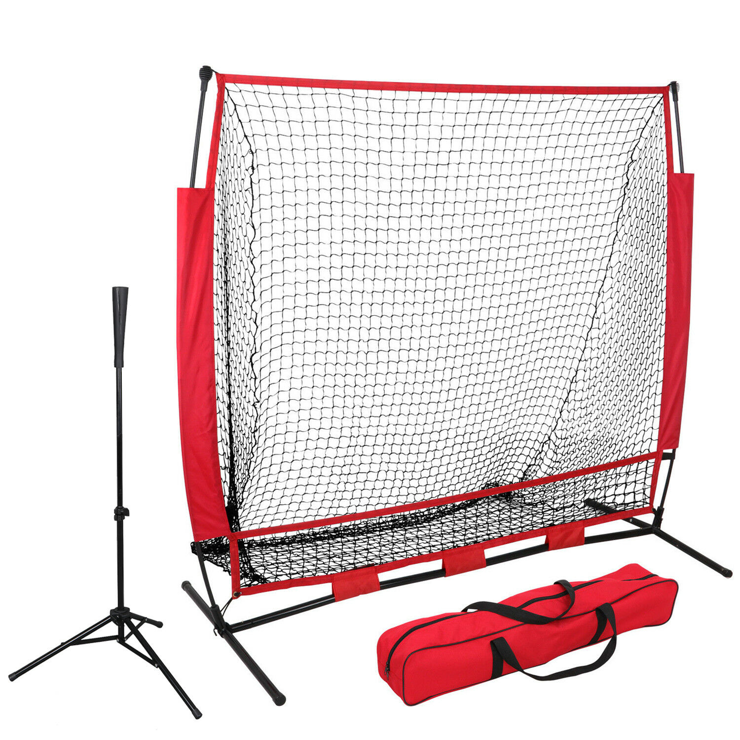 5'×5' Commercial Grade Heavy Duty Baseball Practice Net + Pro-Style Batting Tee