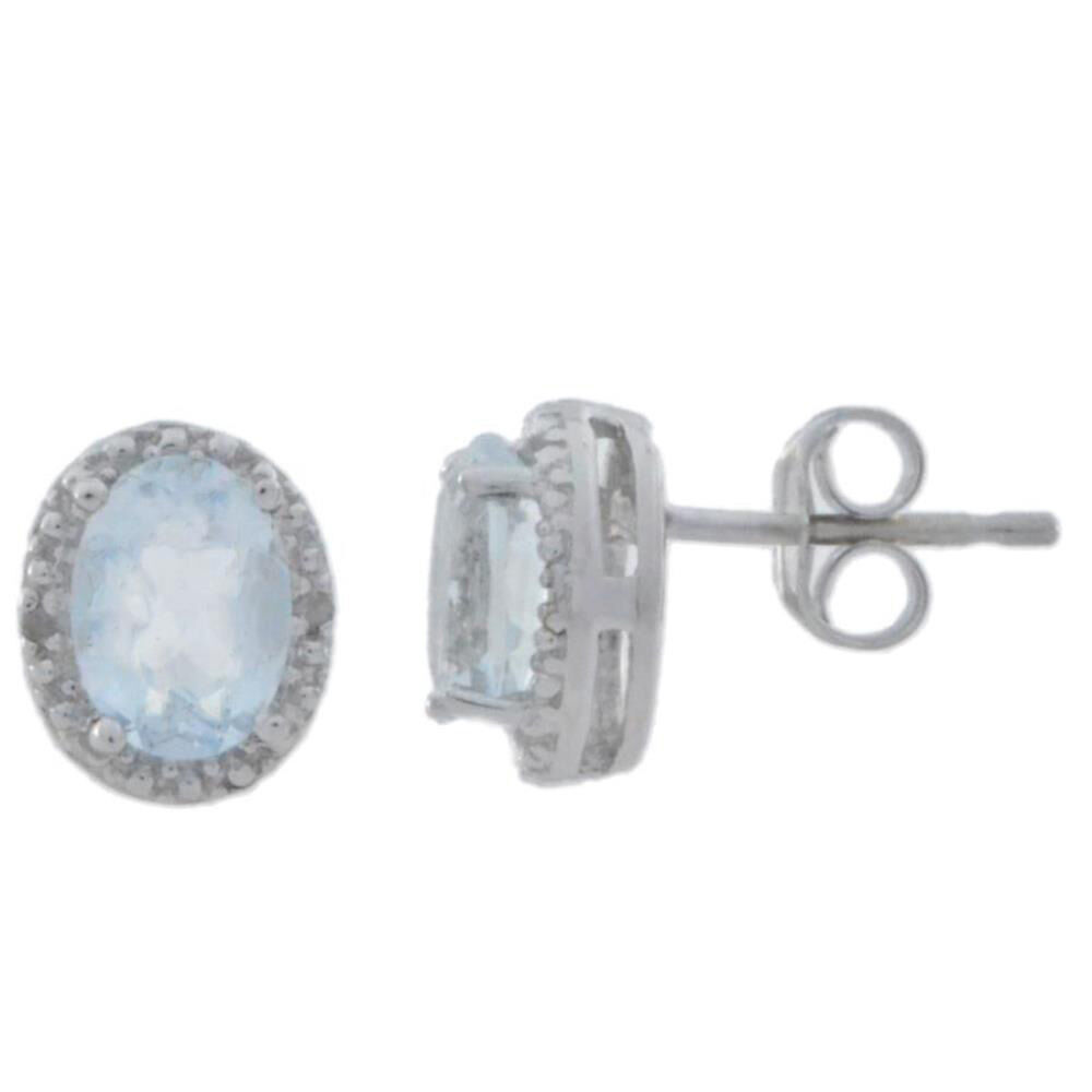 14Kt White gold Natural Aquamarine & Diamond Oval Stud Earrings