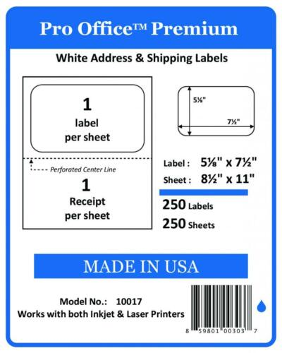 Premium Shipping Labels w Receipt Self Adhesive Half Sheet PRO OFFICE