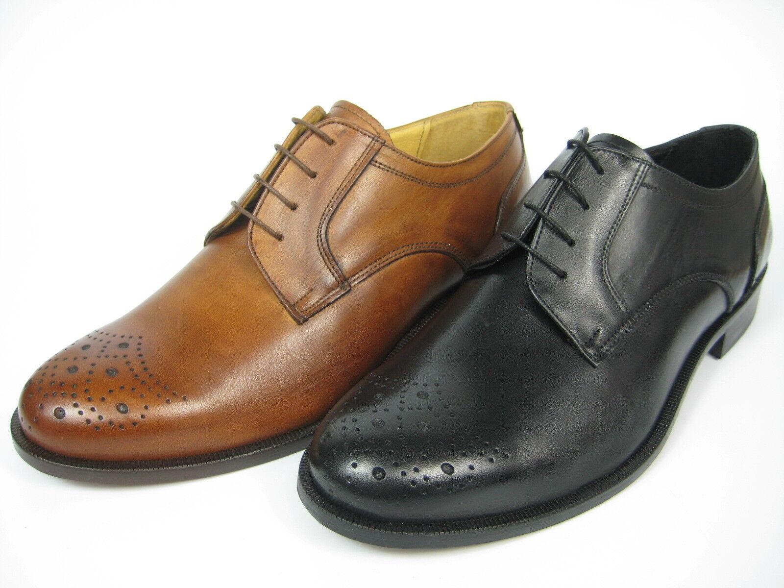 GIORGIO SCARPE 13114 Derby Leder Schuh Handgenäht Ledersohle schwarz/whisky