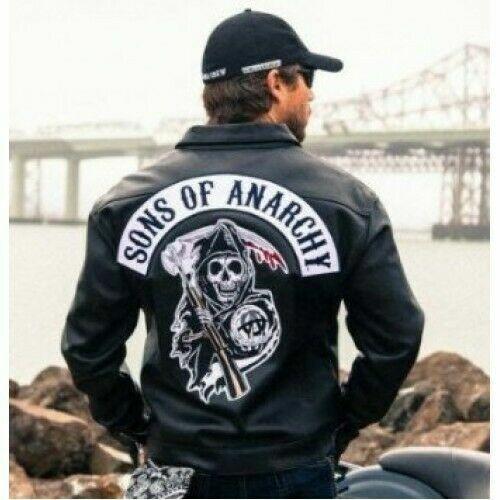 Soa Sons of Anarchy da motociclista moto con logo in pelle Gilet Giacca