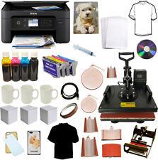8in1 Combo Heat Press Wireles Sublimation Ink Printer Tshirts Mug Startup Bundle