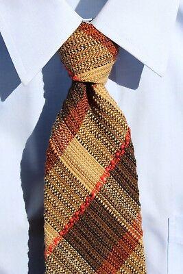 Maria Svatina Vintage Gent's Brown, Tan, & Red Check Woven Wool Necktie - Canada