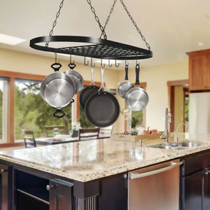 Pots And Pans Cookware Hanging Rack Wall Mount Iron Shelf Kitchen