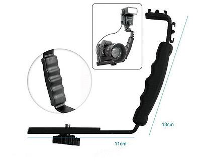 L Bracket Two 2 HotShoe Shoe F Cam Camera DV Mic Video Light Flash Speedlight