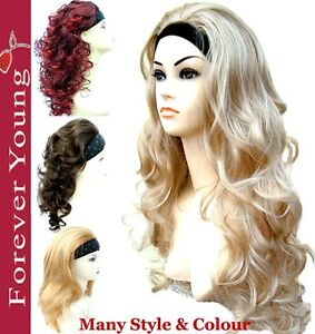 Ladies-Half-Wig-3-4-Wig-Fall-Clip-In-Hair-Piece-Promotion-sales