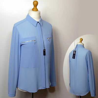 M&S LIMITED EDITION Silky ZIP POCKET BLOUSE / SHIRT ~ Size 12 ~ BLUE