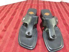 5d3d8d55ee53e Harley Davidson Black Leather Thong Sandals Flip Flops Heels Women Size 6.5