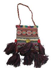 Vintage Indian Embroidered Shoulder Bag Tribal Ethnic Sewing Black large TASSELS