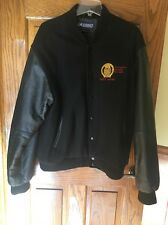 Vintage Canadian Pacific Railway black bomber jacket w/ leather sleeves Sz XL