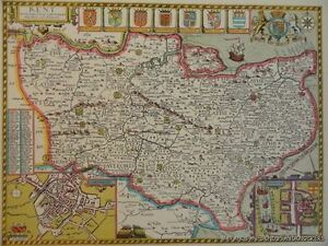 OLD-COPY-OF-JOHN-SPEED-MAP-OF-KENT-CANTERBURY-ROCHESTER-TOWN-PLAN-1610