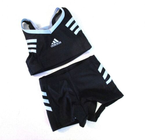 "Adidas toddlers 3-Stripes Bikini Black Lite Blue stripes sz kids 22/"""
