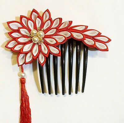 and Yellow Ribbons Green Japanese Kanzashi Flower Hair Comb made with Blue