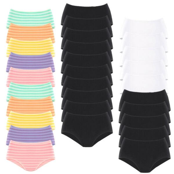 Damen Slips Taillenslip Schlüpfer Unterhose Unterwäsche 10er Pack von Go in