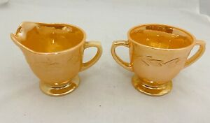 Fire King Peach Luster Laurel Sugar Bowl And Creamer Set MCM Vintage