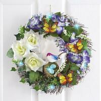 Led Spring Butterfly Songbird & Floral Wreath 16dia