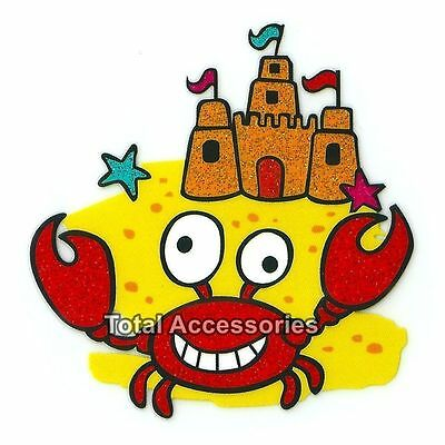 Crab at the Beach with Sand Castle - Iron On T-Shirt Glitter Heat Transfer - NEW