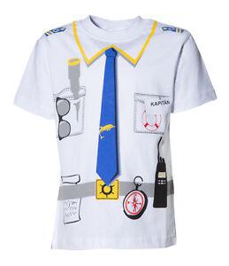 Kinder-Uniform-Kostuem-T-Shirt-KAPITAN-Weiss-92-98-bis-140-146