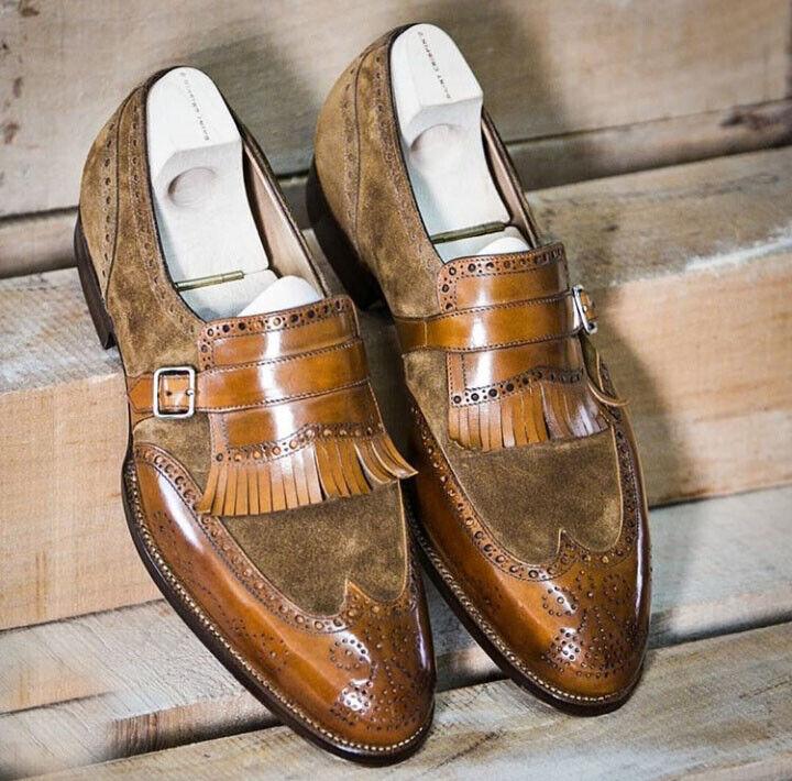 Hecho a mano Gamuza Marrón De Cuero Zapatos Oxford, Zapatos Formales Correa flecos de extremo de ala