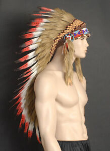Native-American-Indian-Red-Long-Feather-Headdress-Chief-War-Bonnet-with-beaded