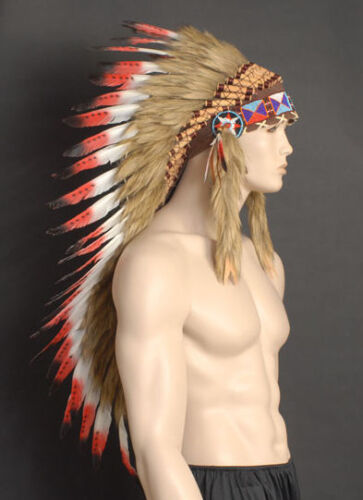 Native American Indian Red Long Feather Headdress Chief War Bonnet with beaded