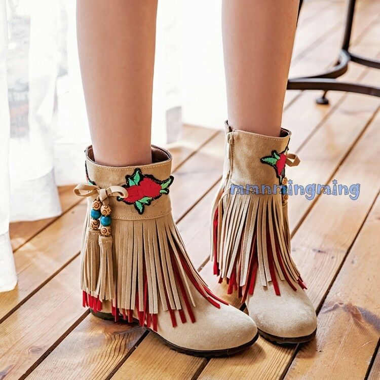 Women Boho Tassel Floral Beads Zip Faux Suede Wedge Heels Ankle Boots shoes plus
