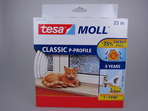 tesa-Moll-P-Profil-Classic-weiss-Fensterdichtung-Tuerdichtung-2-5mm-9mm-25m