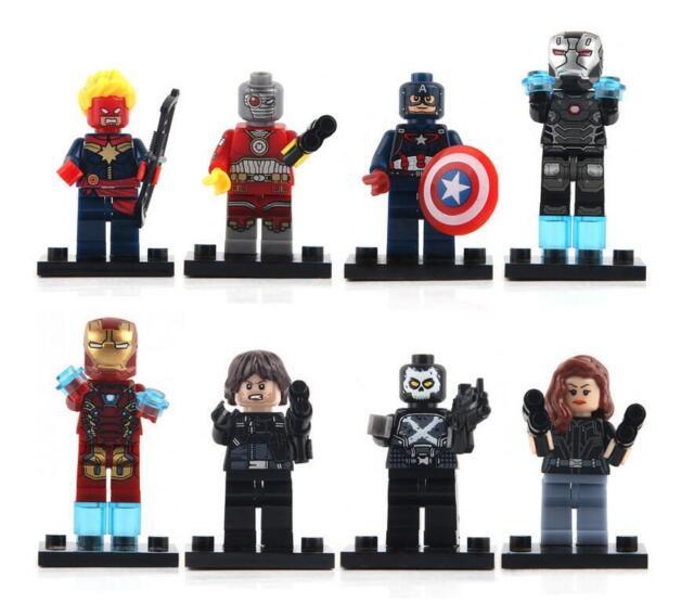 8Pcs Super Heroes Iron Men Marvel Avengers Mini figures Building Blocks Toy Set