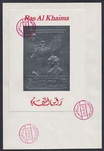 1972-Ras-al-Khaima-FDC-Visit-of-Pompidou-Cape-Kennedy-Space-silver-foil-brd735