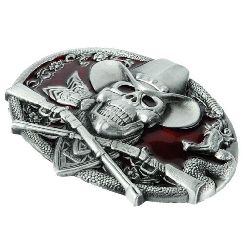 Cowboy 3D Skull Head Around Rattle Snake Rifle Buckle for 3.6-3.9cm Belt