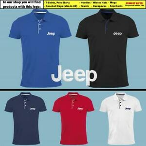 JEEP-Slim-Fit-Polo-T-Shirt-EMBROIDERED-Auto-Car-Logo-Tee-Mens-Clothing-Gift-Him