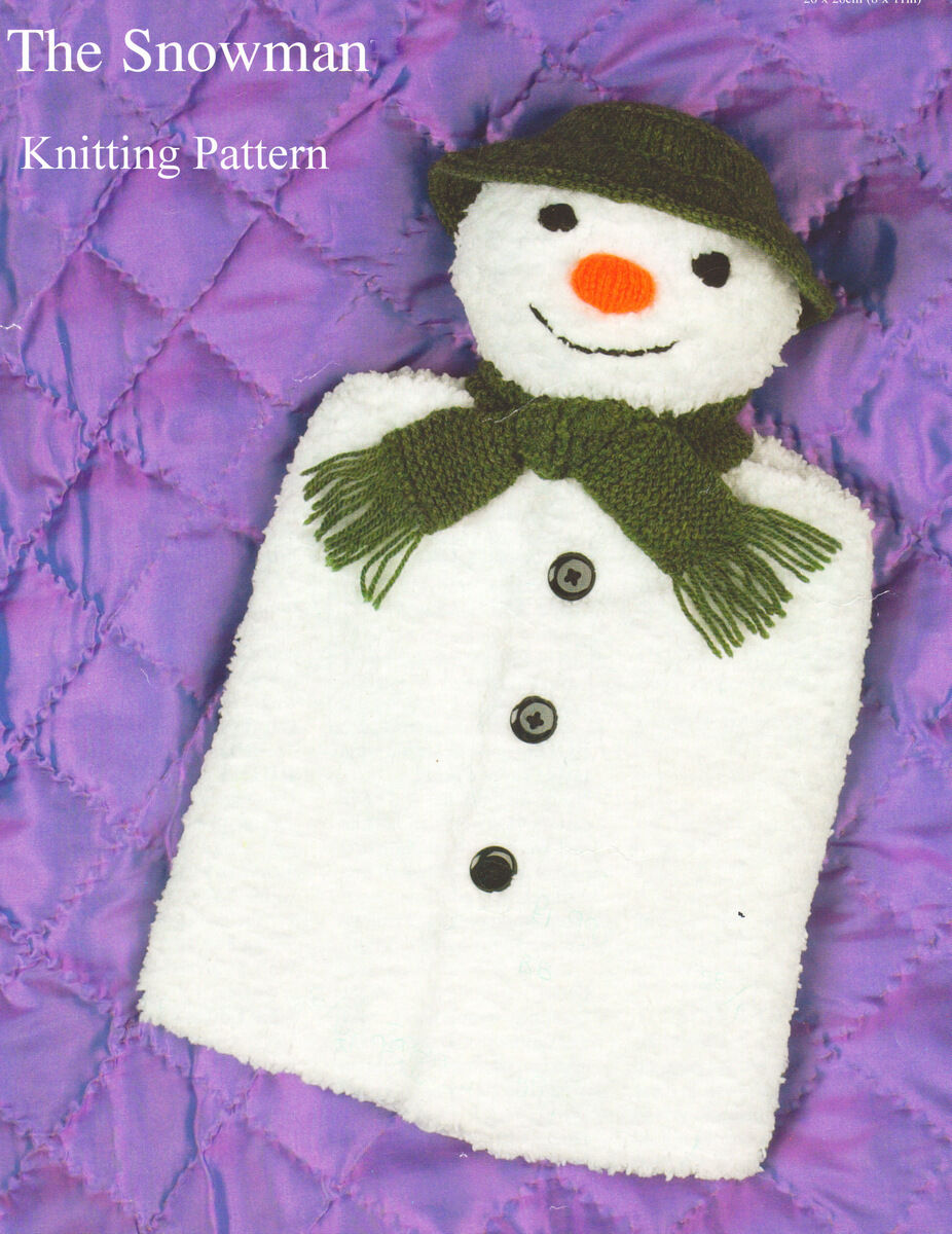 Snowman Toy Hot Water Bottle Cover DK Childrens Knitting Pattern ...